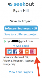 SeekOut Sourcing Assistant candidate social profiles
